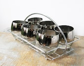 mad men glasses / silver roly poly cocktail set glasses with caddy  / vintage 60s barware