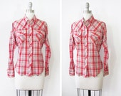 plaid pearl snap shirt / country western blouse / red and white plaid shirt
