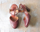 RESERVED 1970s woven high heels / vintage 70s leather sandals / 1970s shoes