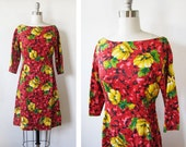 red 50s dress, vintage red floral dress, small 1950s cocktail dress