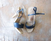 1970s Candie's sandals / 70s navy high heels / candie's for el greco