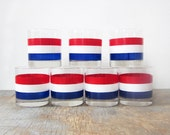 RESERVED vintage striped glasses  / red, white, and blue glasses / 60s barware
