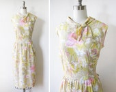 60s floral dress / vintage floral party dress / pink and yellow spring dress