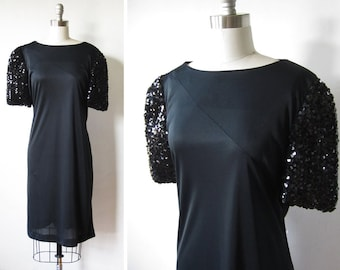 black sequin dress, vintage 70s disco dress , large black cocktail dress