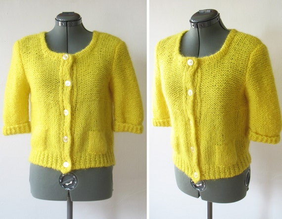 reserved for jecpin  vintage 50s 60s lemon yellow wool short sleeve cropped cardigan