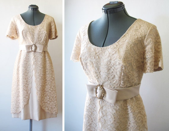 vintage 50s 60s pale pink floral lace raw silk dress with rhinestone bow sash
