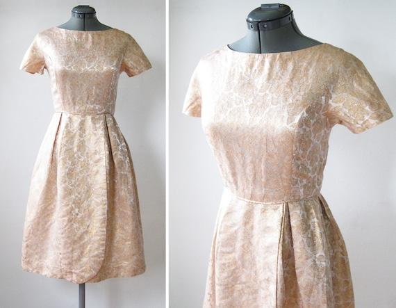 vintage 60s golden champagne floral brocade dress