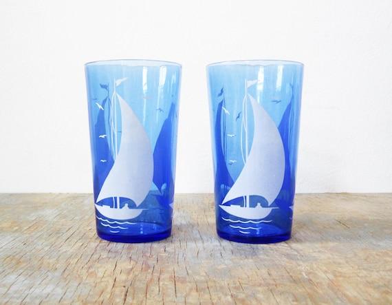 SALE vintage sailboat glasses / depression hazel atlas / cobalt blue