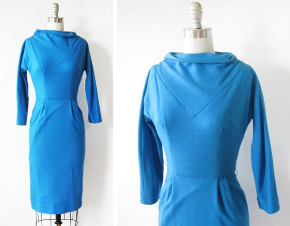60s wiggle dress / vintage 1960s dress / blue wool dress