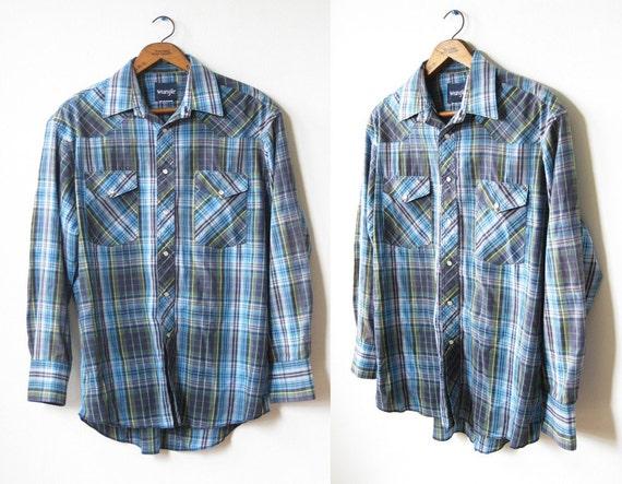 wrangler pearl snap shirt / vintage 80s western shirt