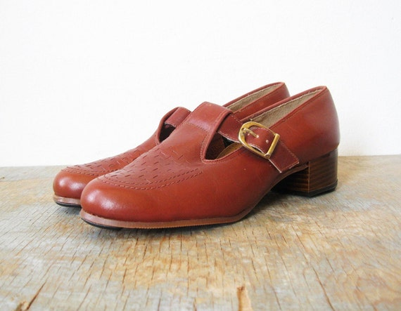 1970s mary jane shoes / 70s brown oxfords 7.5