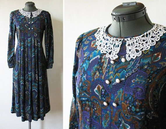 80s babydoll dress / vintage 1980s paisley dress