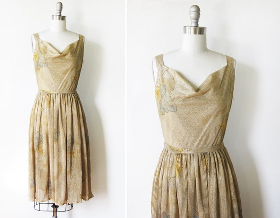 1950s gold lurex dress / 50s party dress / metallic sparkle