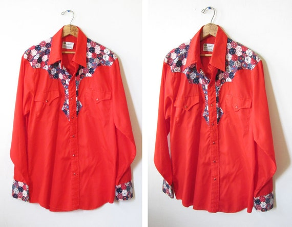 red pearl snap shirt / mens rockabilly shirt / country western patchwork