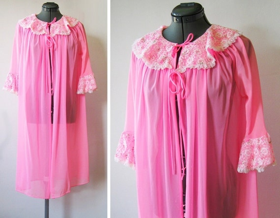 vintage hot pink peignoir robe