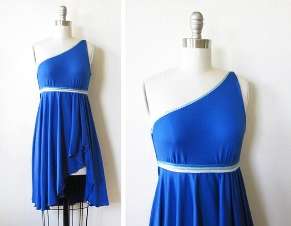 1970s dress / vintage one shoulder party dress / 70s blue disco dress