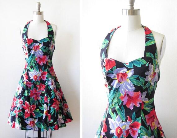 floral halter dress / vintage 1980s floral party dress / sweetheart dress
