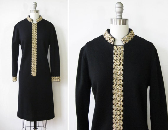 black and gold dress / vintage 1960s black cocktail dress with metallic gold trim / 60s black shift dress