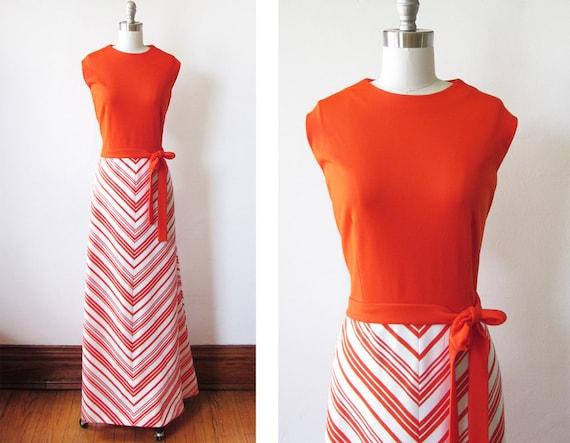 1970s orange chevron maxi dress / vintage tangerine summer dress