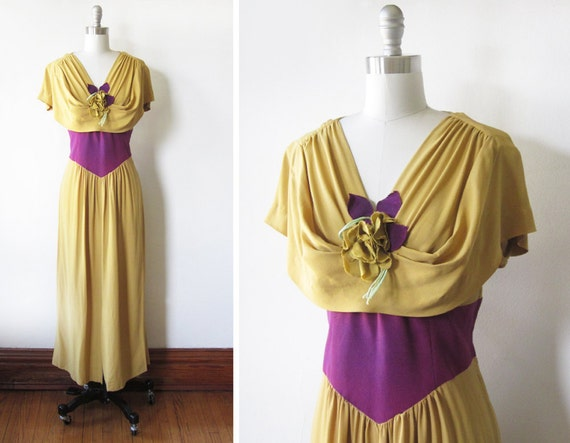 1930s dress / 30s gown / mustard yellow and purple dress