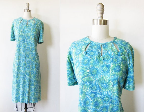 SALE floral mod dress / vintage 1960s dress / 60s blue green shift dress / mod scooter dress