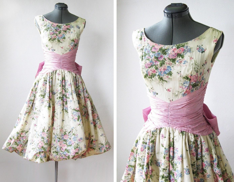 Vintage 50s Spring Garden Party Dress By Rustbeltthreads