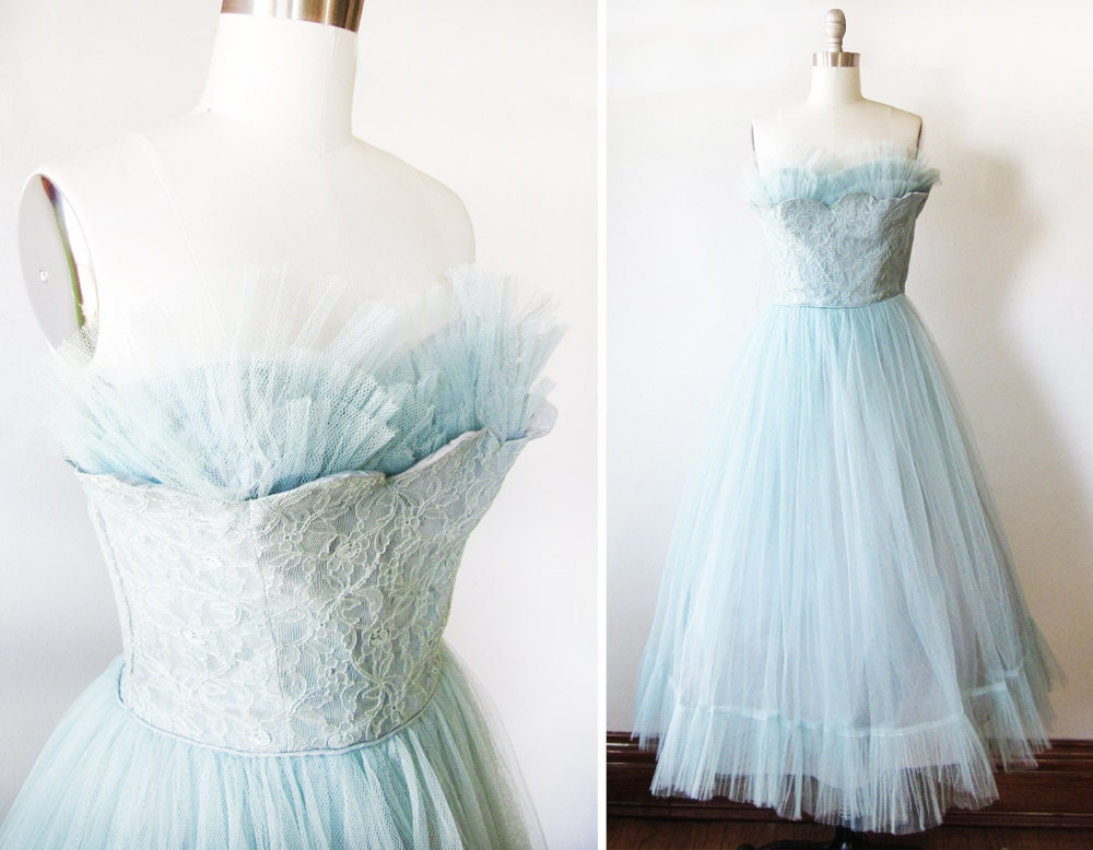 25 Off Sale Vintage 50s Party Dress Blue Tulle Gown Prom