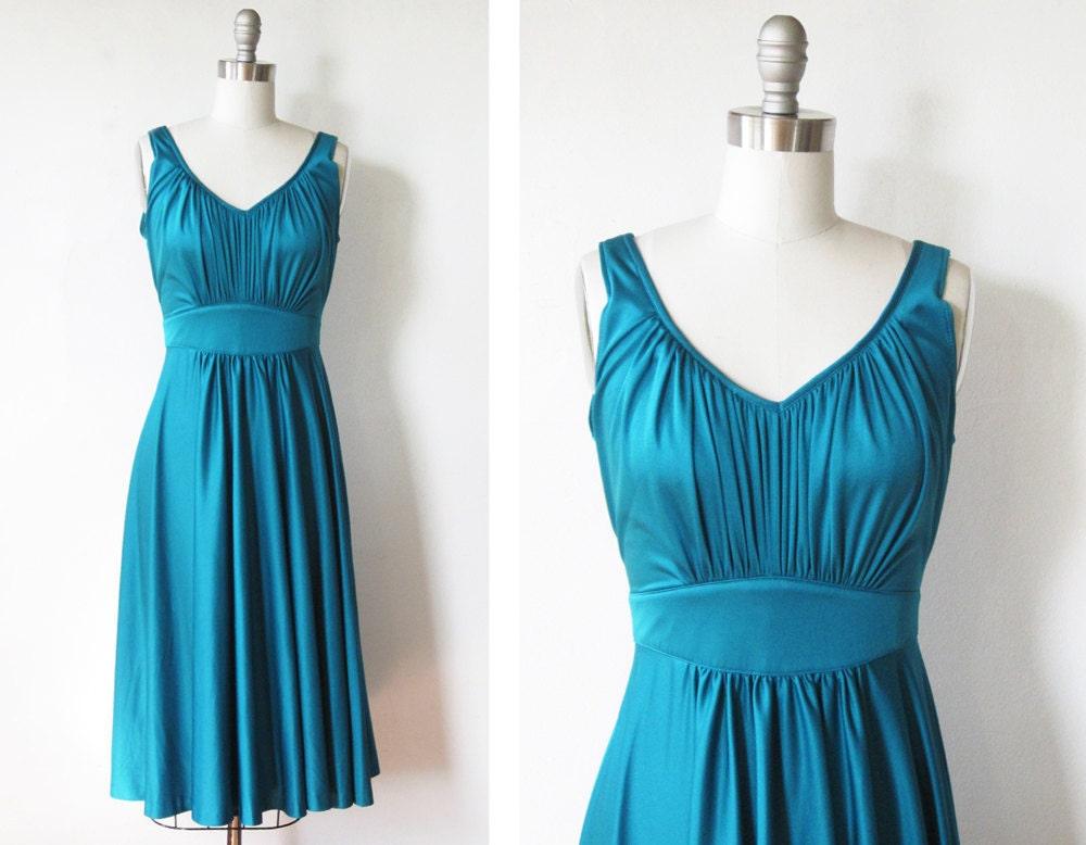 1970s Teal Blue Dress 70s Sundress Vintage Disco Dress