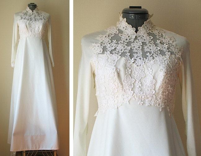 Vintage 70s Ivory House Of Bianchi Lace Wedding Dress