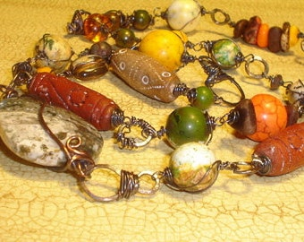Wire Wrapped Autumn Necklace
