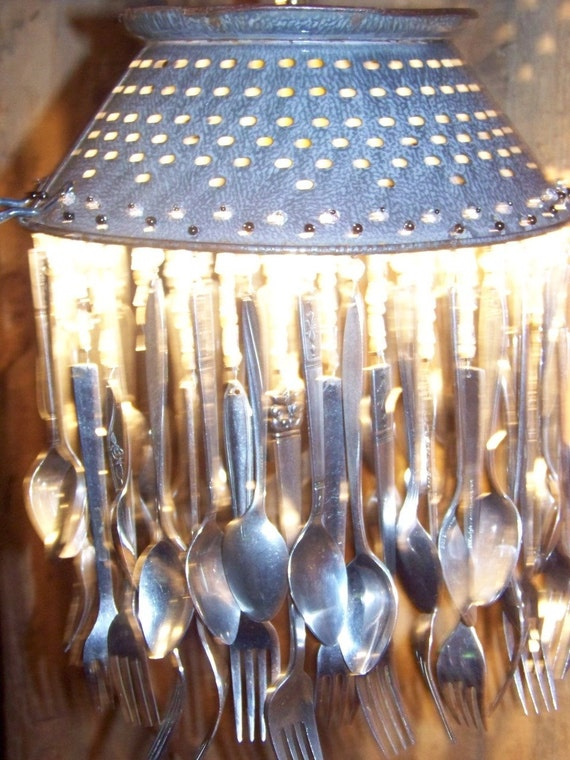 Vintage Colander Repurposed Flatware Chandelier Lighting