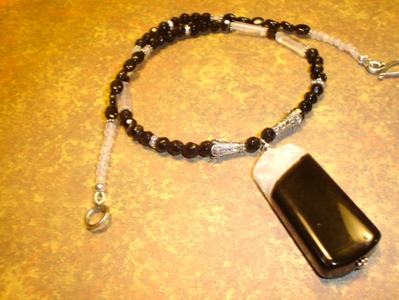CLEARANCE  Shimmering Black Onyx with Crystal Pendant Necklace