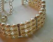 Swarovski pearl and rhinestone bridal bracelet, cuff bracelet, classic pearl bracelet