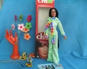 Vintage Cher Doll in Box with Bob Mackie Jumperoo Outfit and Booklet 1970s