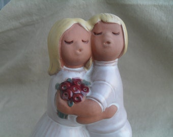 Vintage Wedding or Love Couple Pottery Figure Made in Sweden