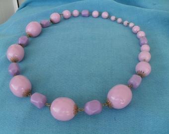 Vintage Purple Plastic Bead Necklace So Great