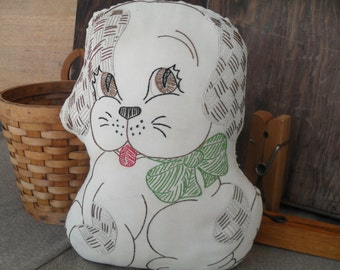 Vintage Dog Embroidered Pillow