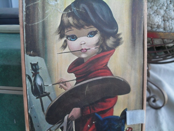 Vintage Big Eyed Girl Jewelry or Trinket Storage Box Artist and Cat by Eden