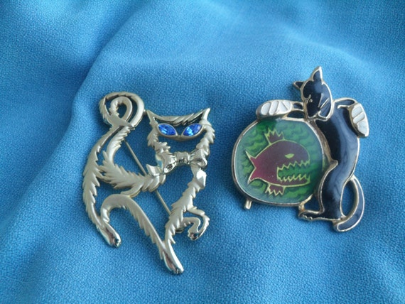 Vintage Kitty Cat Pins Fancy Cat and Bad Kitty
