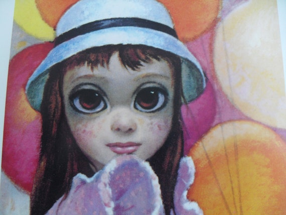 Vintage Big Eyed Girl with Balloons Greeting Cards by Keane Set of 3 Unused
