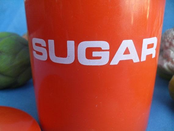 Vintage Danish Modern Orange Plastic Sugar Canister Container