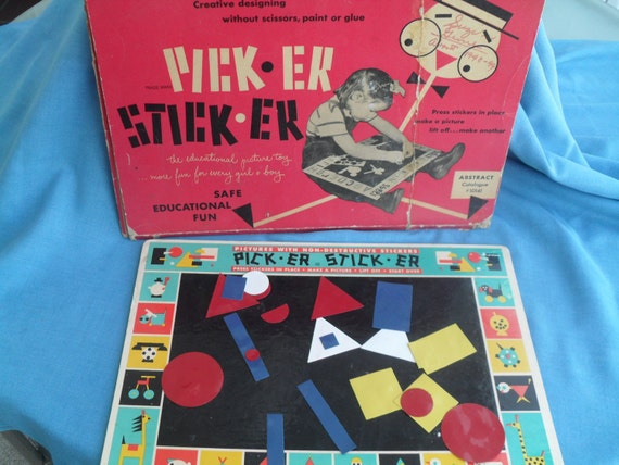 Vintage Abstract Toy Picture Sticker Game 1940s 1950s Plastic Cleveland Ohio