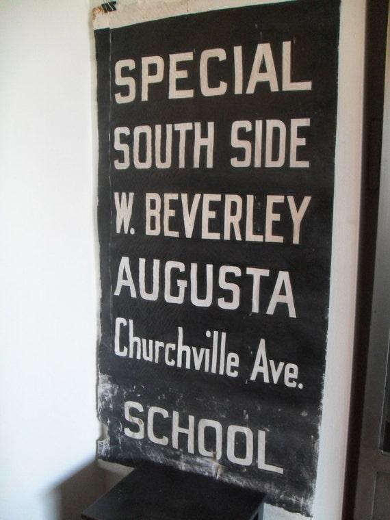 Vintage Original Antique Bus Roll Scroll Industrial Canvas Art Train Tram Virginia