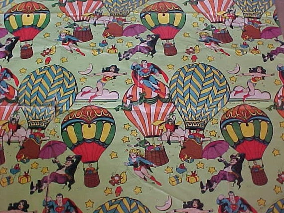 Vintage 80s Super Hero Gift Wrapping Paper