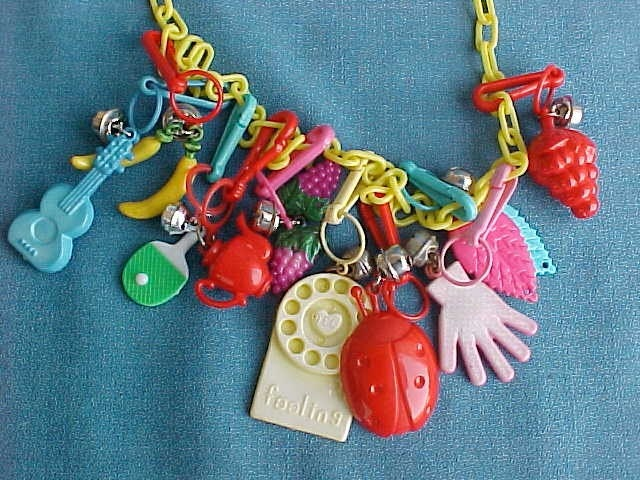 Vintage 80s Plastic Bell Clip Toy Charm Necklace Jewelry
