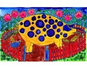 Pig and Pink Flowers- Folk Art - Farm Life, Pets and Pals Series Print
