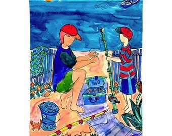 Father and Son Fishing -Nautical Beach Print Series