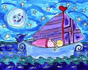 Girl in Sailboat - Nautical Beach Print Series