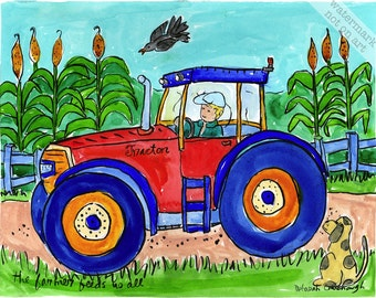 Tractor and Farmer on the Farm - Cars, Planes and Trucks Transportion Series Print