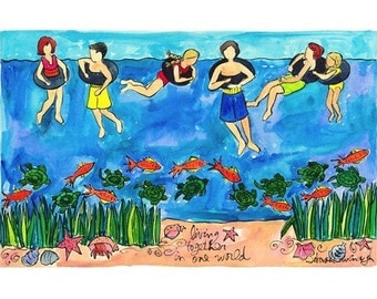Children Swimming With Fish and Sea Turtle - Nautical Beach Animal Series